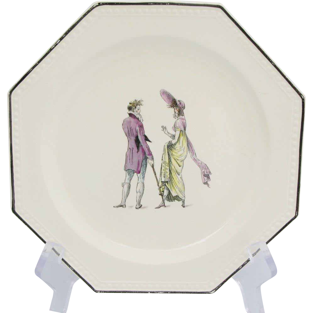 Nine H.B.C.M. Rouard Early French Fashion Octaganal Plates