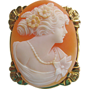 10K Gold Carved Cameo of Beautiful Woman Vintage Brooch