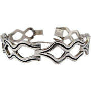 Mexican Modernist Bracelet Vintage Heavy Sterling Silver