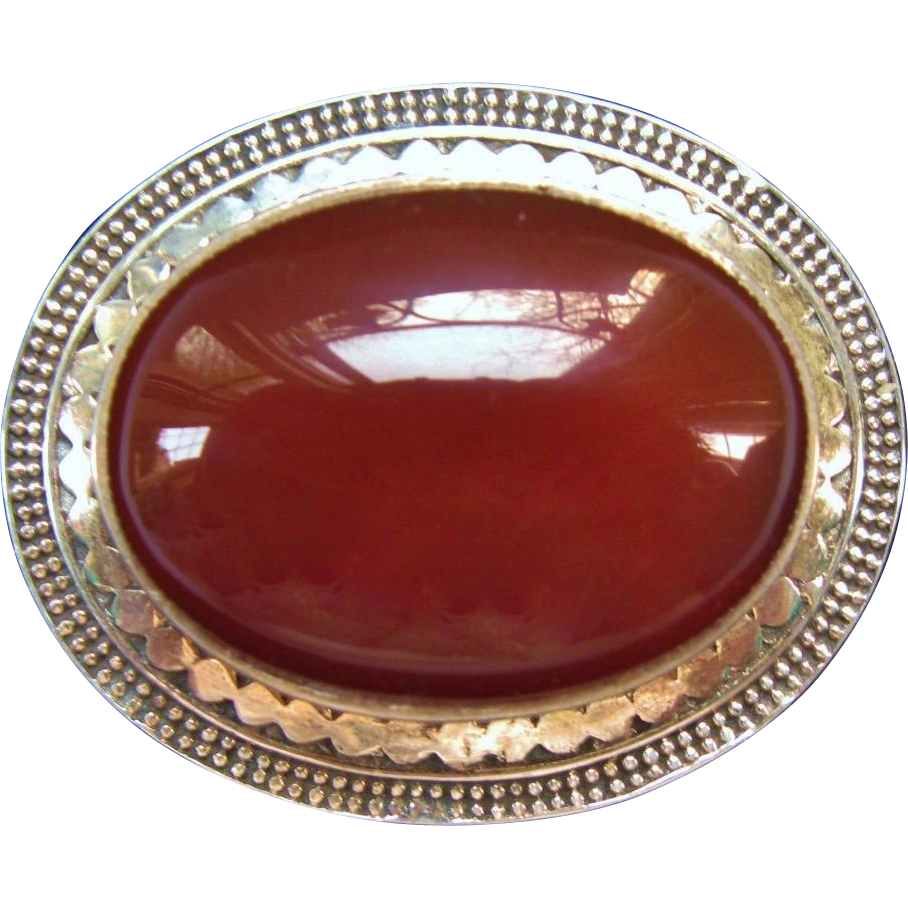 Vintage Carnelian Brooch Domed Cabochon In Ornate Sterling Silver Setting