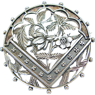 Antique Sterling Silver Open Work Floral Brooch