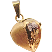 14K Gold Italian Locket Yellow And White Gold Engraved Flower Heart Shaped Vintage Locket Pendant