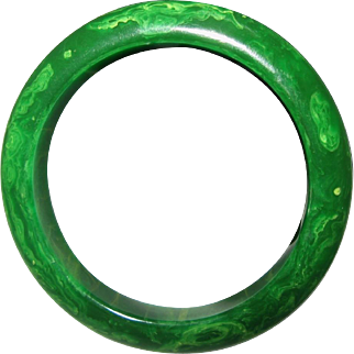 Vintage Marbled Green Bakelite Bangle