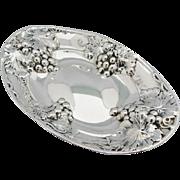 BIRKS Sterling Silver Centerpiece Repousse Grapes Vintage Oval Bowl