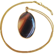 10K Gold Chain With Banded Agate Pendant Vintage Necklace