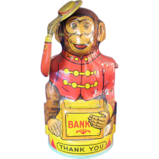 Vintage Chein Mechanical Bank Monkey Tipping Hat Lithographed Tin