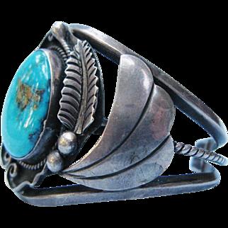 Native American Turquoise Sterling Silver Cuff Bracelet Vintage Al Joe Navajo