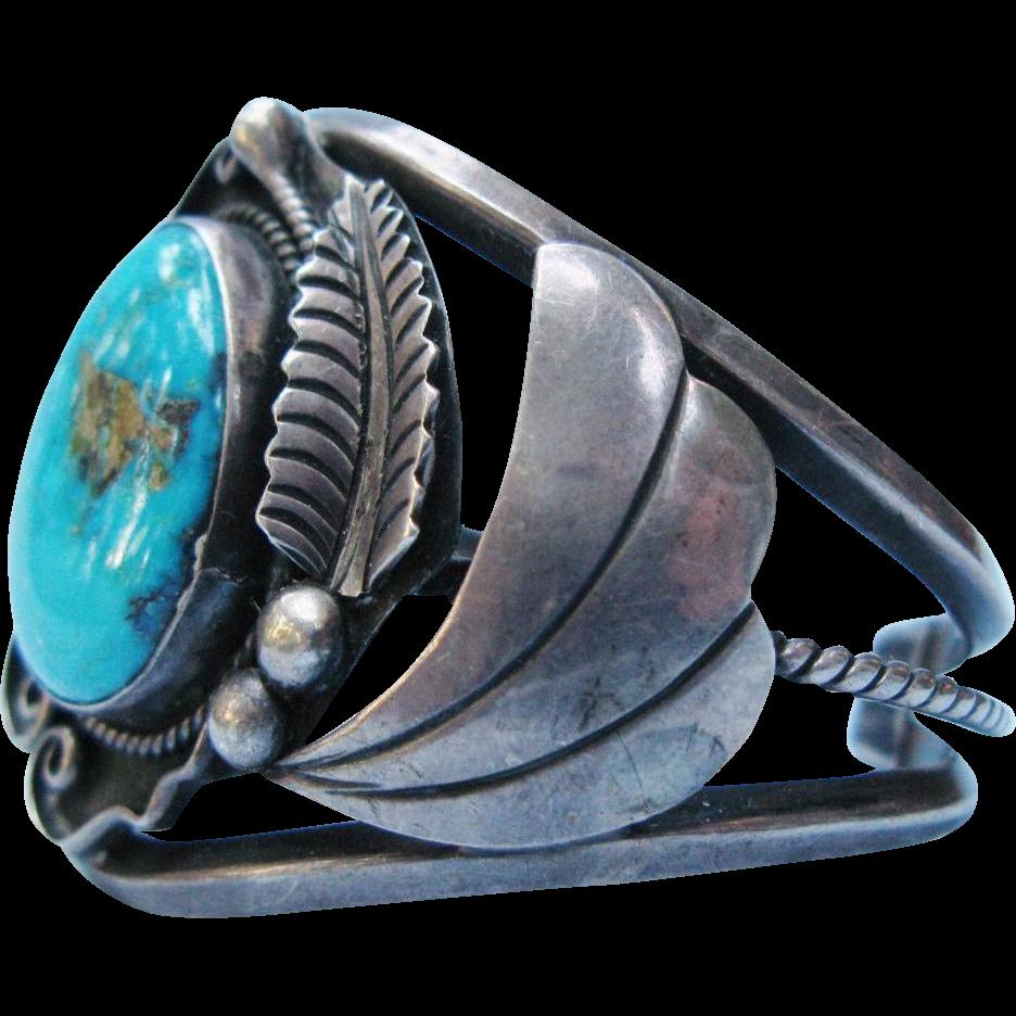 Native American Turquoise Sterling Silver Cuff Bracelet Vintage Signed Al Joe Navajo