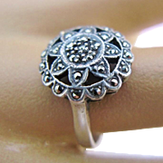 Art Deco Sterling Silver Marcasite Flower Ring Size 7 3/4