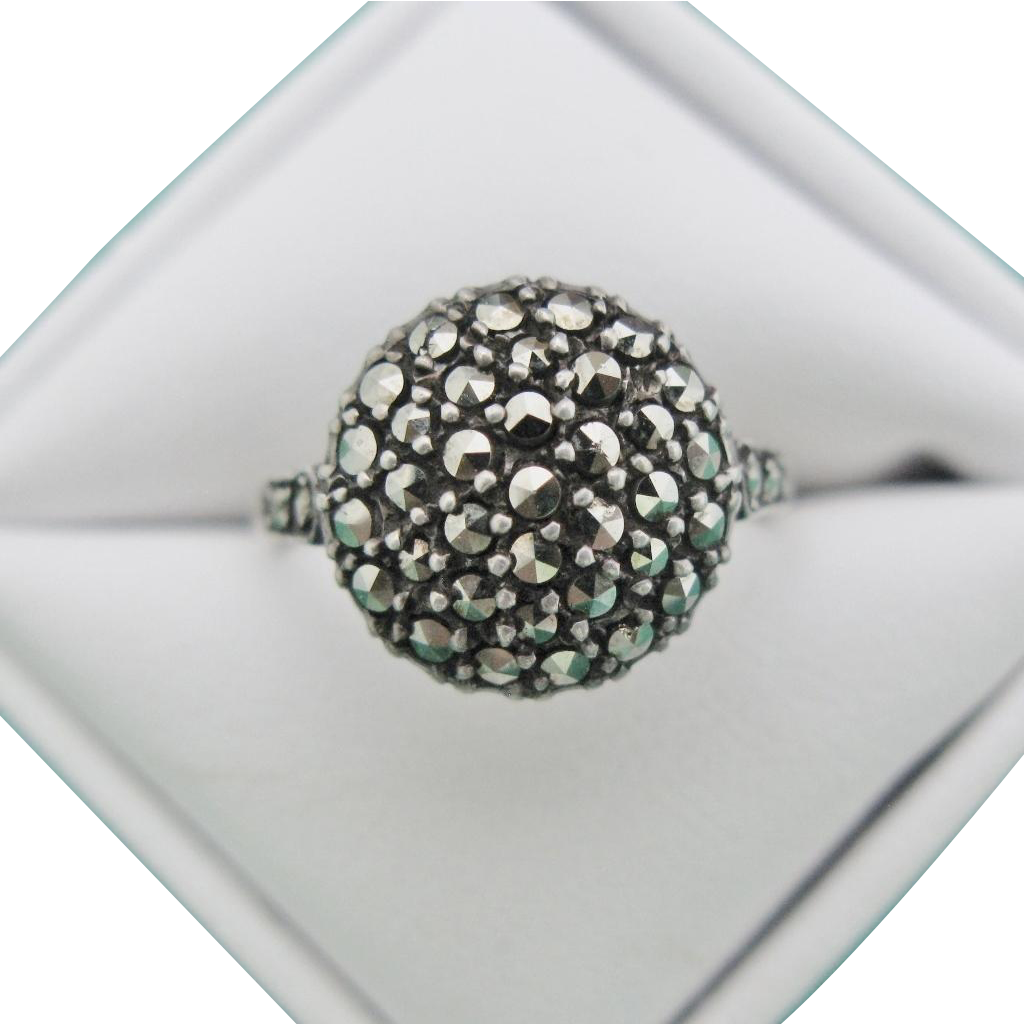 Art Deco Marcasite Sterling Domed Round Ring Size 8