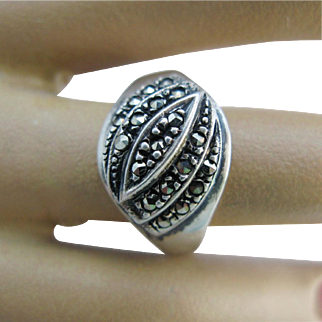 Art Deco Marcasite Sterling Silver Layered Ring Size 9