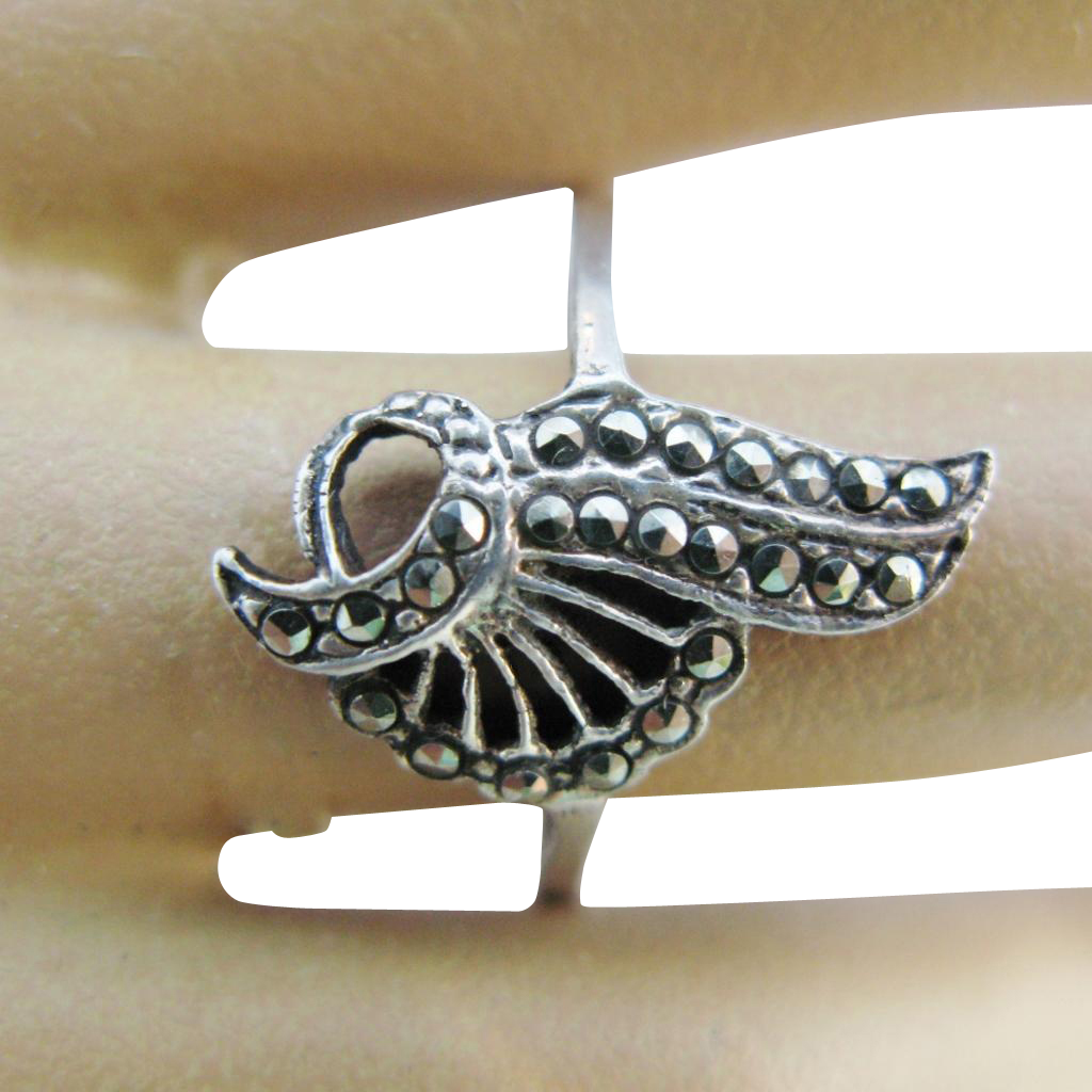 Flapper Marcasite Ring Sterling Silver Art Deco Size 9 1/4
