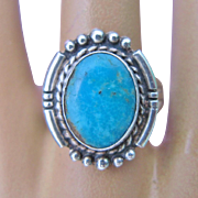 Native American Turquoise Ring Signed Sterling Silver Vintage Size 8