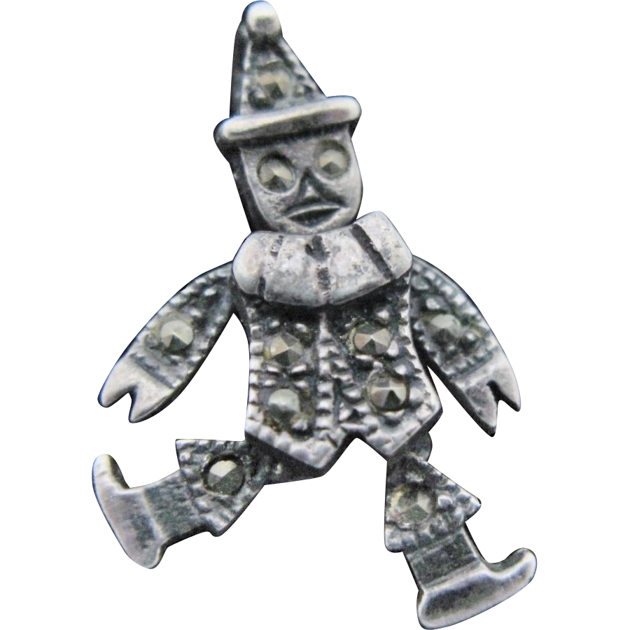 Vintage Articulated Clown Pendant Charm Marcasites Sterling Silver