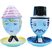 Vintage Figural Salt And Pepper Egg Cups Japan Egghead Couple