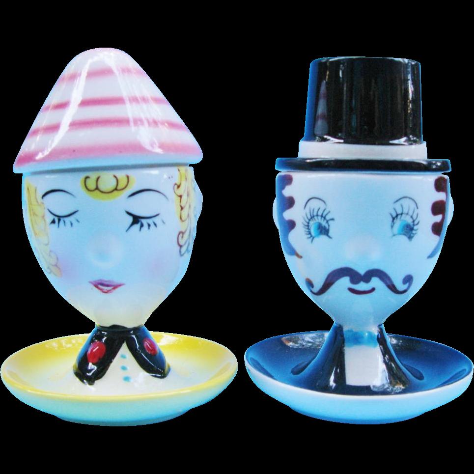 Vintage Figural Salt And Pepper Egg Cups Japan Egghead Couple