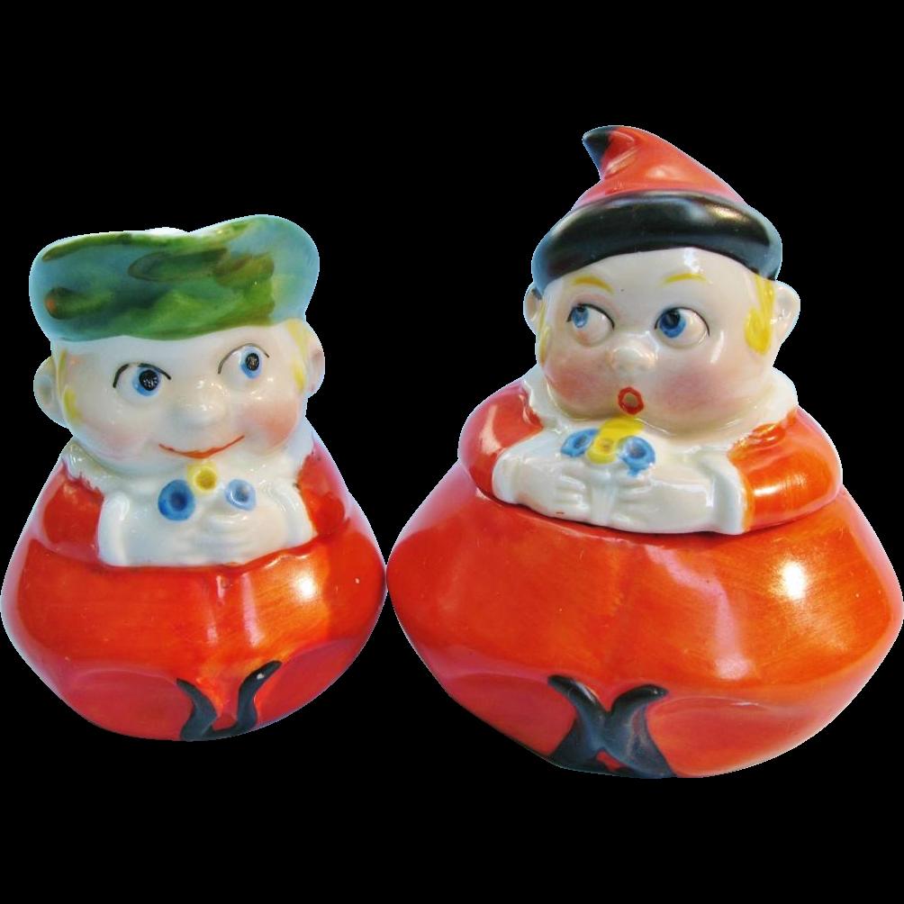 German Art Deco Google Eyed Figural Cream Jug And Covered Sugar Bowl