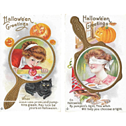 Two Vintage Halloween Postcards Stetcher Series 248 A and F