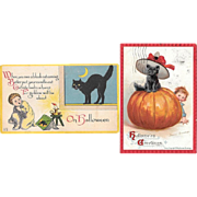 Two Early Halloween Postcards Black Cat Vintage