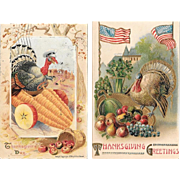 Two Thanksgiving Postcards Vintage Embossed Turkey Harvest Fruit