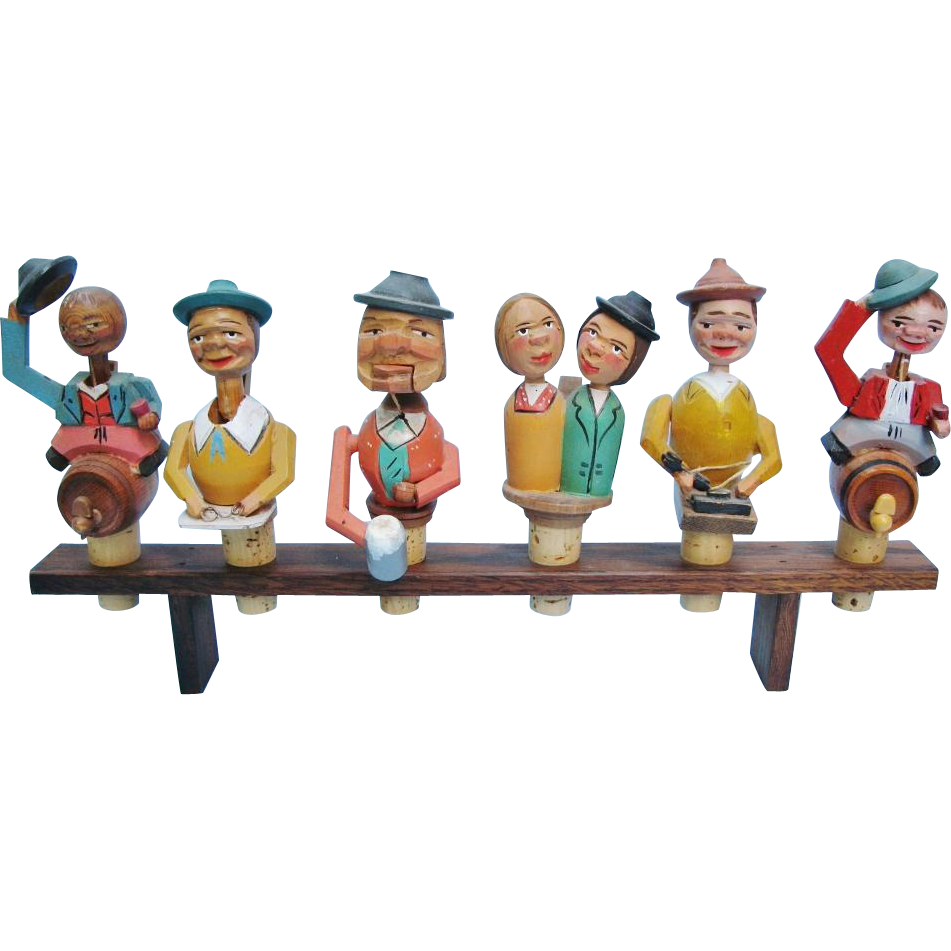 Six Hand Carved Wooden Vintage Mechanical Bottle Stopper Set With Stand