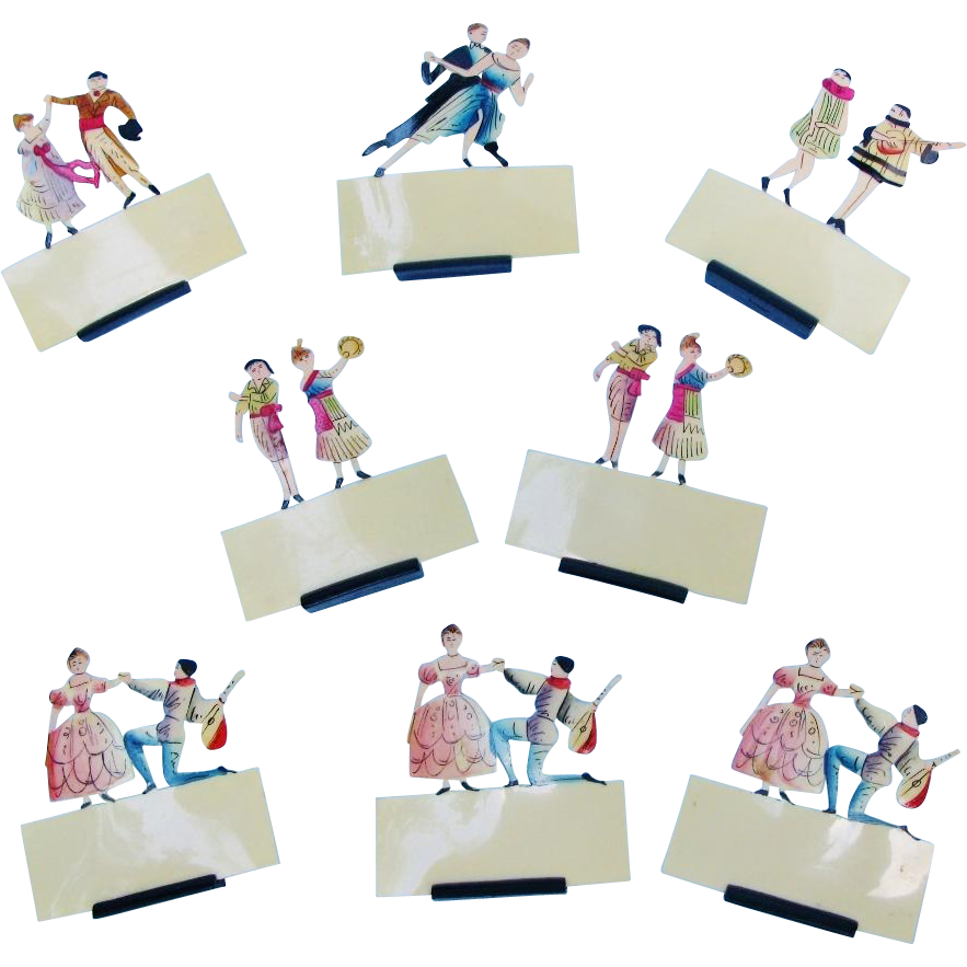 Art Deco Place Card Holders Celluloid Celebrating Music And Dance