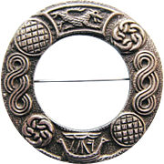 Robert Allison Annular Brooch With Celtic Symbols Vintage Hallmarked Sterling Silver