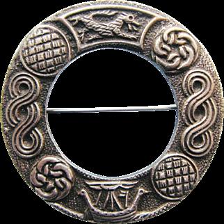 Robert Allison Annular Brooch With Celtic Symbols Vintage Hallmarked Sterling Silver