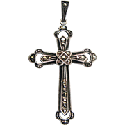 Vintage Marcasite Cross Pendant Sterling Silver Made In Germany