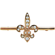 Antique Fleur de Lis Bar Brooch 10K Gold Seed Pearl