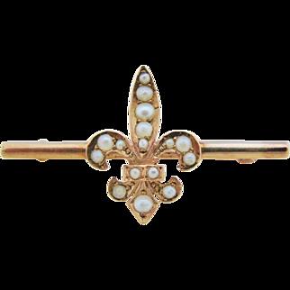 Antique Fleur de Lis Bar Brooch 10K Gold Seed Pearl