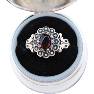 Antique 9K Gold Ring Victorian Seed Pearls With Garnet Paste