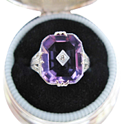 Vintage Amethyst Diamond Ring Filigree White Gold Art Deco