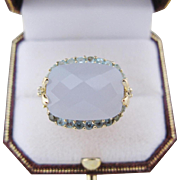 Vintage Cocktail Ring 14 Kt Gold Diamond Aquamarine Chalcedony Size 9