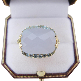 Vintage Cocktail Ring 14 Kt Gold Diamond Aquamarine Chalcedony Size 9