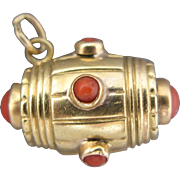 Antique Barrel Charm 18 Kt. Gold With Coral Cabochons