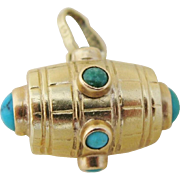 Antique Barrel Charm 18 Kt. Gold With Turquoise Cabochons