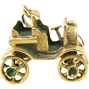 Antique Mechanical Automobile Charm 18K Gold Emerald