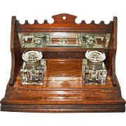 Handsome Antique Ink Oak Desk Set