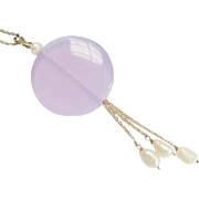 Sterling Silver Dangle Necklace Faux Alexandrite Fresh Water Pearl Pendant