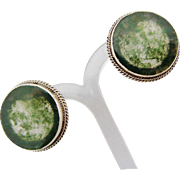 Moss Agate Dendritic Earrings Sterling Silver Vintage Pierced Button