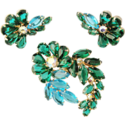 Vintage Large Floral Brooch and Earring Set Blue Green Unfoiled Glass Paste With AB Rhinestones