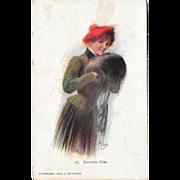 Glamour Woman Postcard 1903 J. De Yonch 15 Skating Girl
