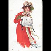 Glamour Woman Postcard 1906 Season's Greetings National Art Company 94