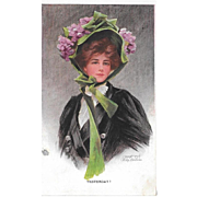 Glamour Woman Postcard Artist Signed Philip Boileau Yesterday