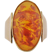 Vintage Amber Ring 8 Kt. 333 Yellow Gold Size 4.5