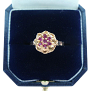 Vintage Ruby Flower Ring 14K Yellow Gold Signed Dynasty