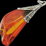 Huge Vintage Amber Sterling Silver Pendant