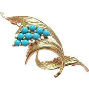 Vintage Turquoise 14K Gold Brooch With Elegant 3D Swirls