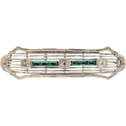 Art Deco Bar Brooch 10K White Gold Filigree With Faux Diamond Emerald Paste